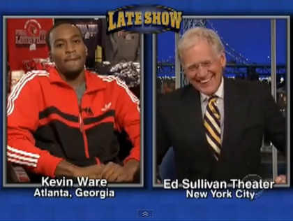 Kevin Ware with David Letterman (credit: CBS)