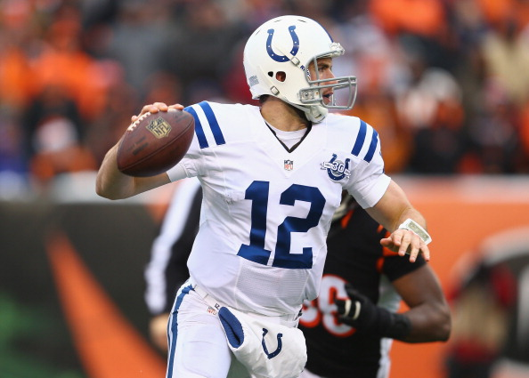CINCINNATI, OH - DECEMBER 08:  Andrew Luck #12 of the Indianapolis Colts runs with the ball during the NFL game against the Cincinnati Bengals at Paul Brown Stadium on December 8, 2013 in Cincinnati, Ohio.  (Photo by Andy Lyons/Getty Images)
