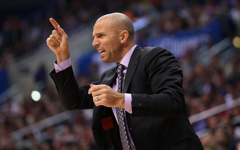 LOS ANGELES, CA - NOVEMBER 16: Head coach Jason Kidd of the Brooklyn Nets gestures in the game with the Los Angeles Clippers at Staples Center on November 16, 2013 in Los Angeles, California. The Clippers won 110-103.