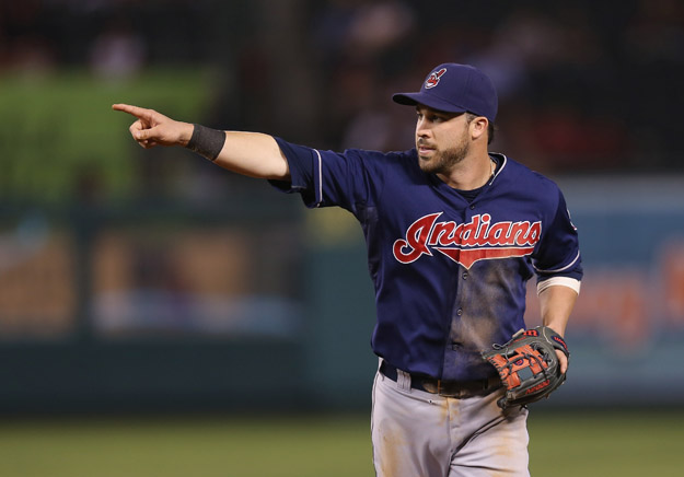 ANAHEIM, CA - AUGUST 19:  Jason Kipnis #22 of the Cleveland Indians gestures against the Los Angeles Angels of Anaheim at Angel Stadium of Anaheim on August 19, 2013 in Anaheim, California.