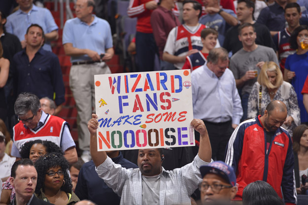 WASHINGTON, DC - MAY 09:  Washington Wizards fans cheer during the game against the Indiana Pacers during Game Three of the Eastern Conference Semifinals on May 9, 2014 in Washington, DC.