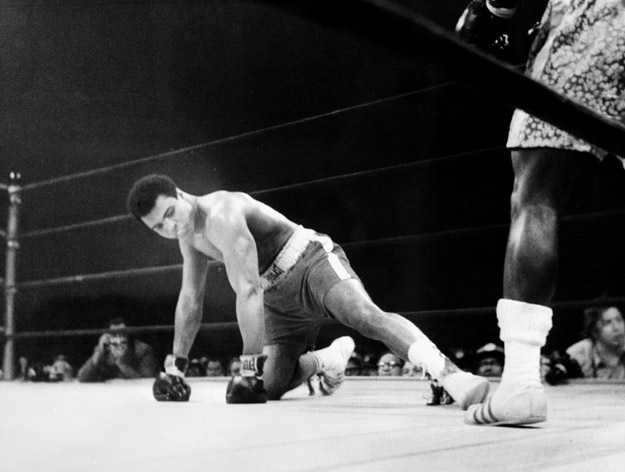 Madison Square Garden of the heavyweight boxing world championship fight between Muhammad Ali (Cassius Clay) (on the floor) and Joe Fazier.