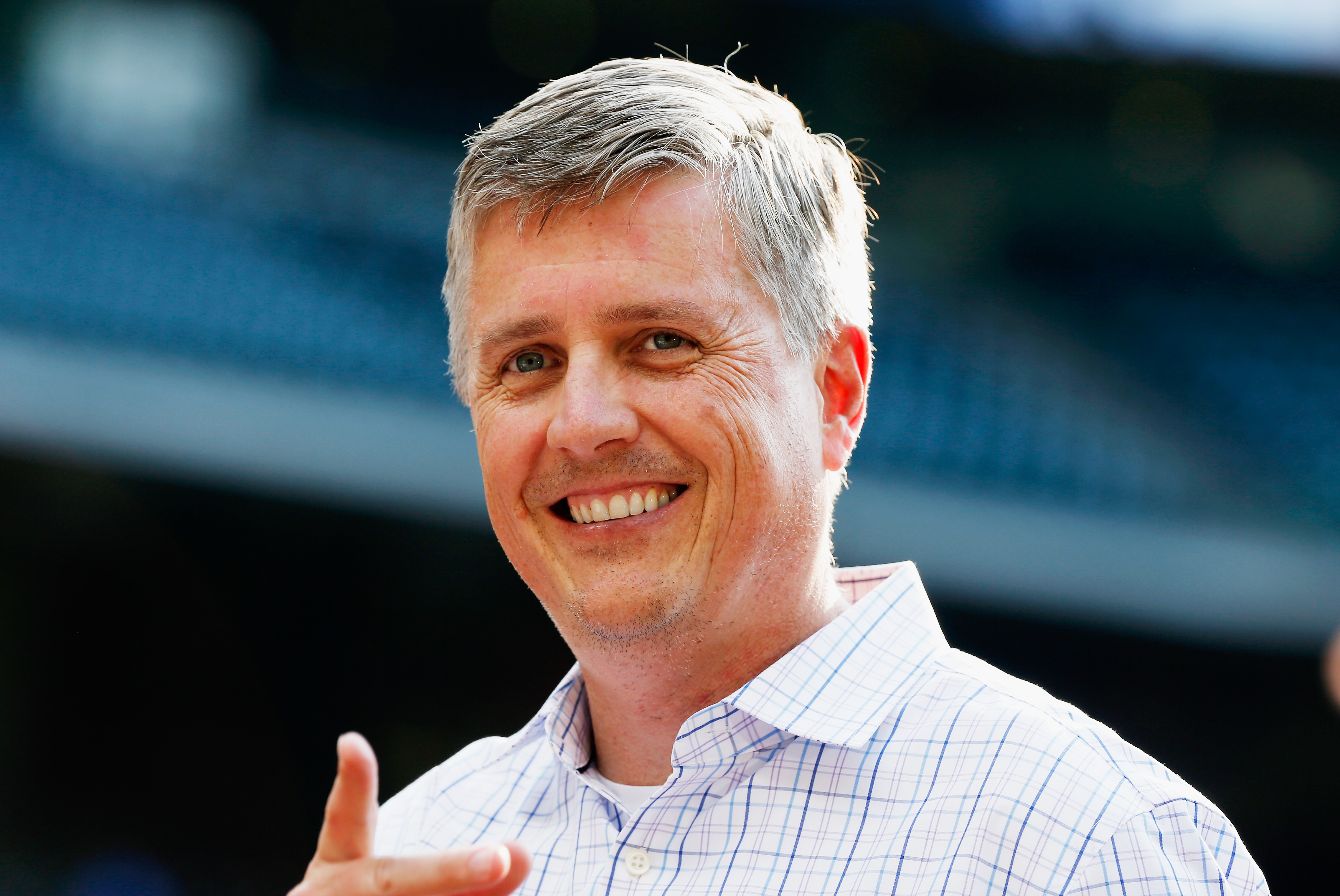 HOUSTON, TX - JUNE 02: Houston Astros general manager Jeff Luhnow waits on the field prior to the start of their game against the Baltimore Orioles at Minute Maid Park on June 2, 2015 in Houston, Texas. (Photo by Scott Halleran/Getty Images)