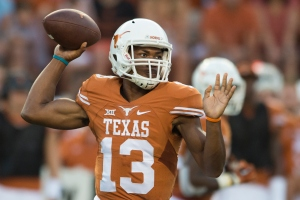 AUSTIN, TX - SEPTEMBER 19:  Jerrod Heard #13 of the Texas Longhorns drops back to pass against the California Golden Bears during the first quarter on September 19, 2015 at Darrell K Royal-Texas Memorial Stadium in Austin, Texas.  (Photo by Cooper Neill/Getty Images)
