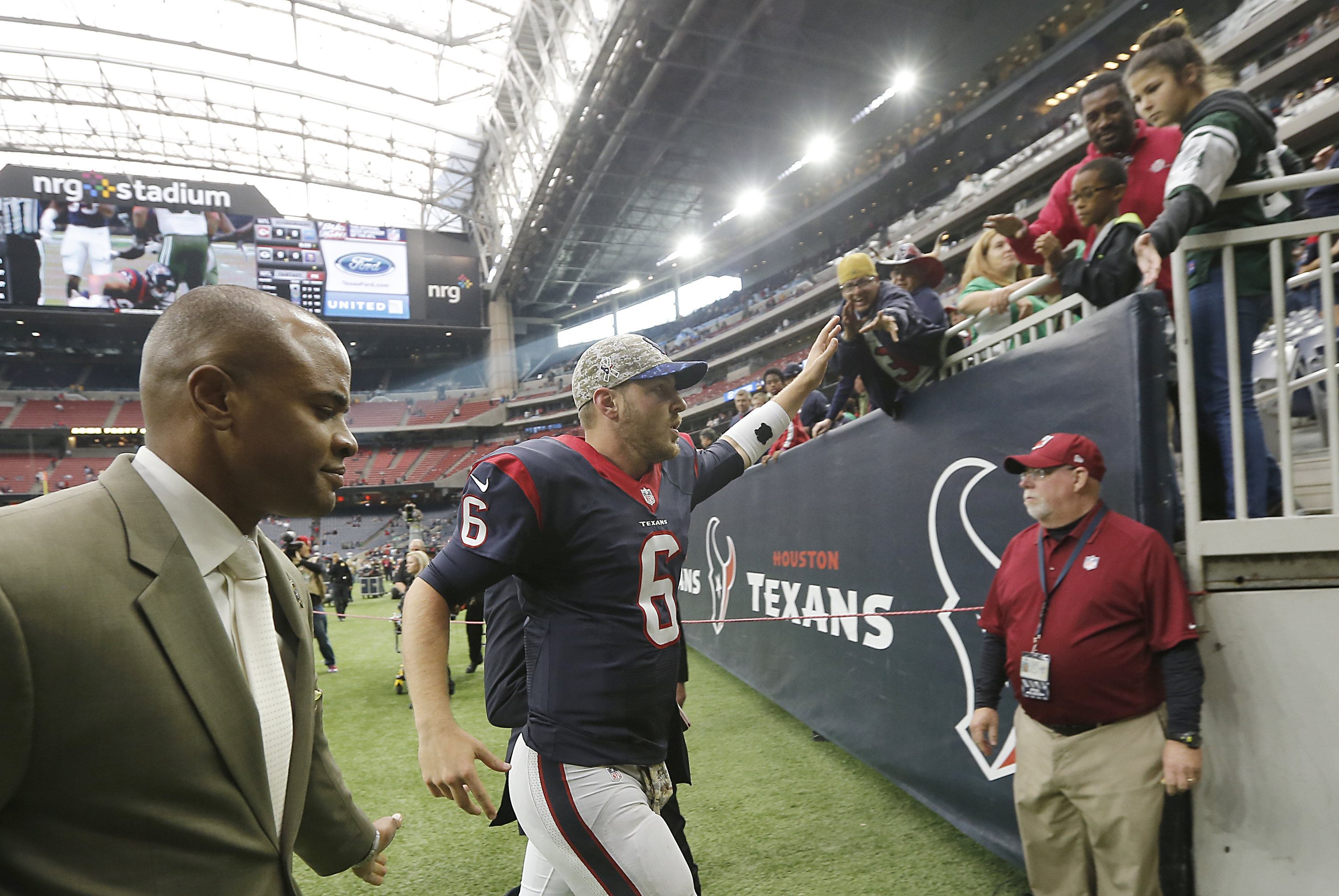 T.J. Yates Celebrates A Texans Vicorty (Photo by Thomas Shea/Getty Images)