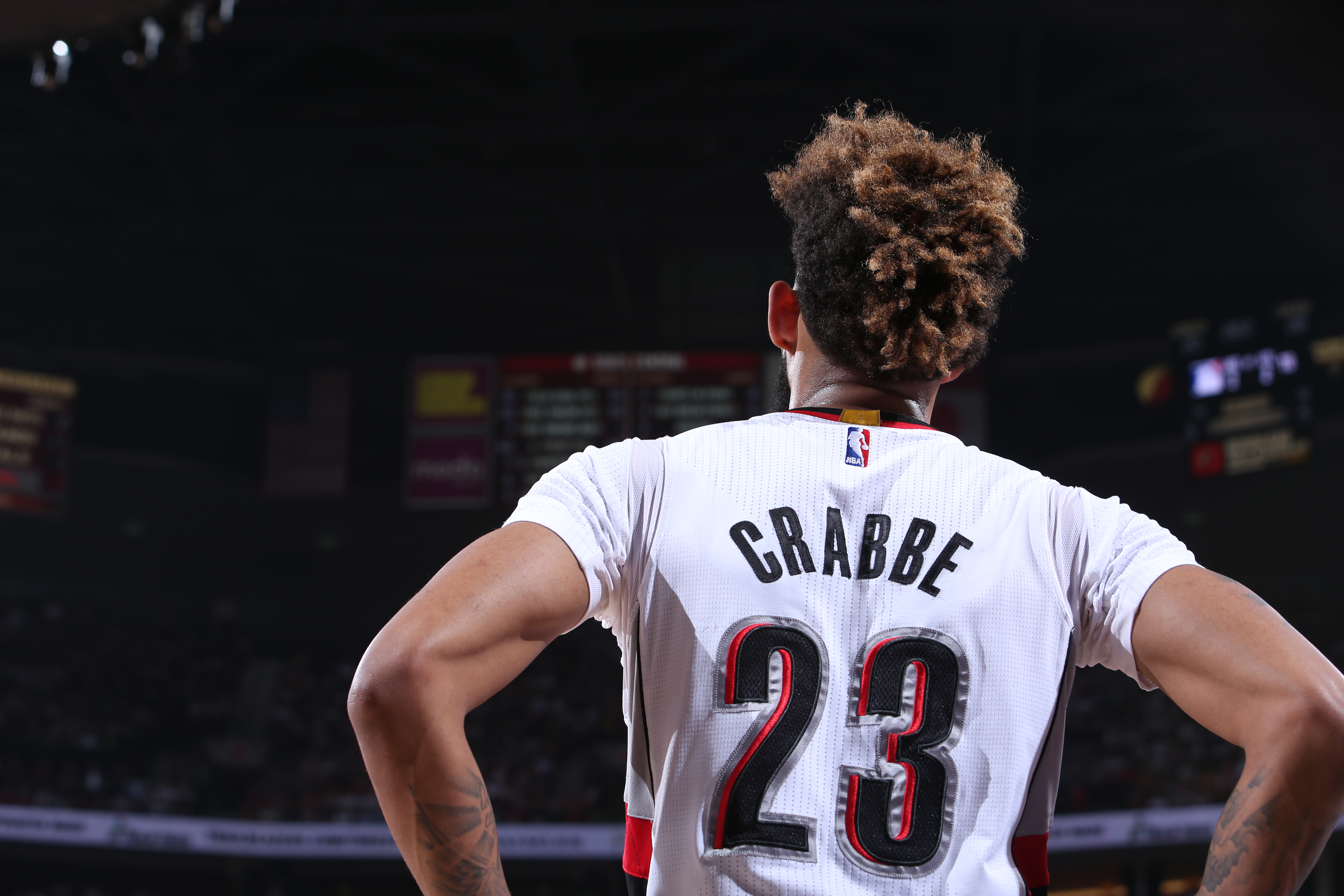 PORTLAND, OR - MAY 7: Allen Crabbe #23 of the Portland Trail Blazers looks on against the Golden State Warriors in Game Three of the Western Conference Semifinals during the 2016 NBA Playoffs on May 7, 2016 at the Moda Center in Portland, Oregon. NOTE TO USER: User expressly acknowledges and agrees that, by downloading and or using this Photograph, user is consenting to the terms and conditions of the Getty Images License Agreement. Mandatory Copyright Notice: Copyright 2016 NBAE (Photo by Sam Forencich/NBAE via Getty Images)