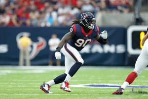 HOUSTON, TX - AUGUST 28: Jadeveon Clowney #90 of the Houston Texans in action against the Arizona Cardinals during an NFL preseason game at NRG Stadium on August 28, 2016 in Houston, Texas. The Texans defeated the Cardinals 34-24. (Photo by Joe Robbins/Getty Images)