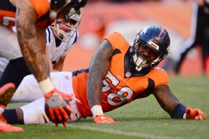 DENVER, CO - SEPTEMBER 18: Outside linebacker Von Miller #58 of the Denver Broncos watches the ball after striping quarterback Andrew Luck #12 of the Indianapolis Colts in the fourth quarter of the game at Sports Authority Field at Mile High on September 18, 2016 in Denver, Colorado. (Photo by Dustin Bradford/Getty Images)
