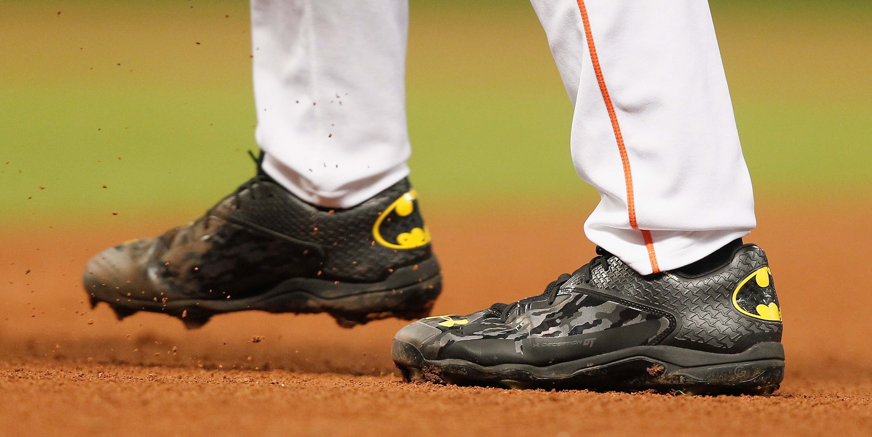 """HOUSTON, TX - MAY 18: Lance McCullers #43 of the Houston Astros throws in his Under Armour """"Batman"""" shoes against the Oakland Athletics at Minute Maid Park on May 18, 2015 in Houston, Texas. (Photo by Bob Levey/Getty Images)"""