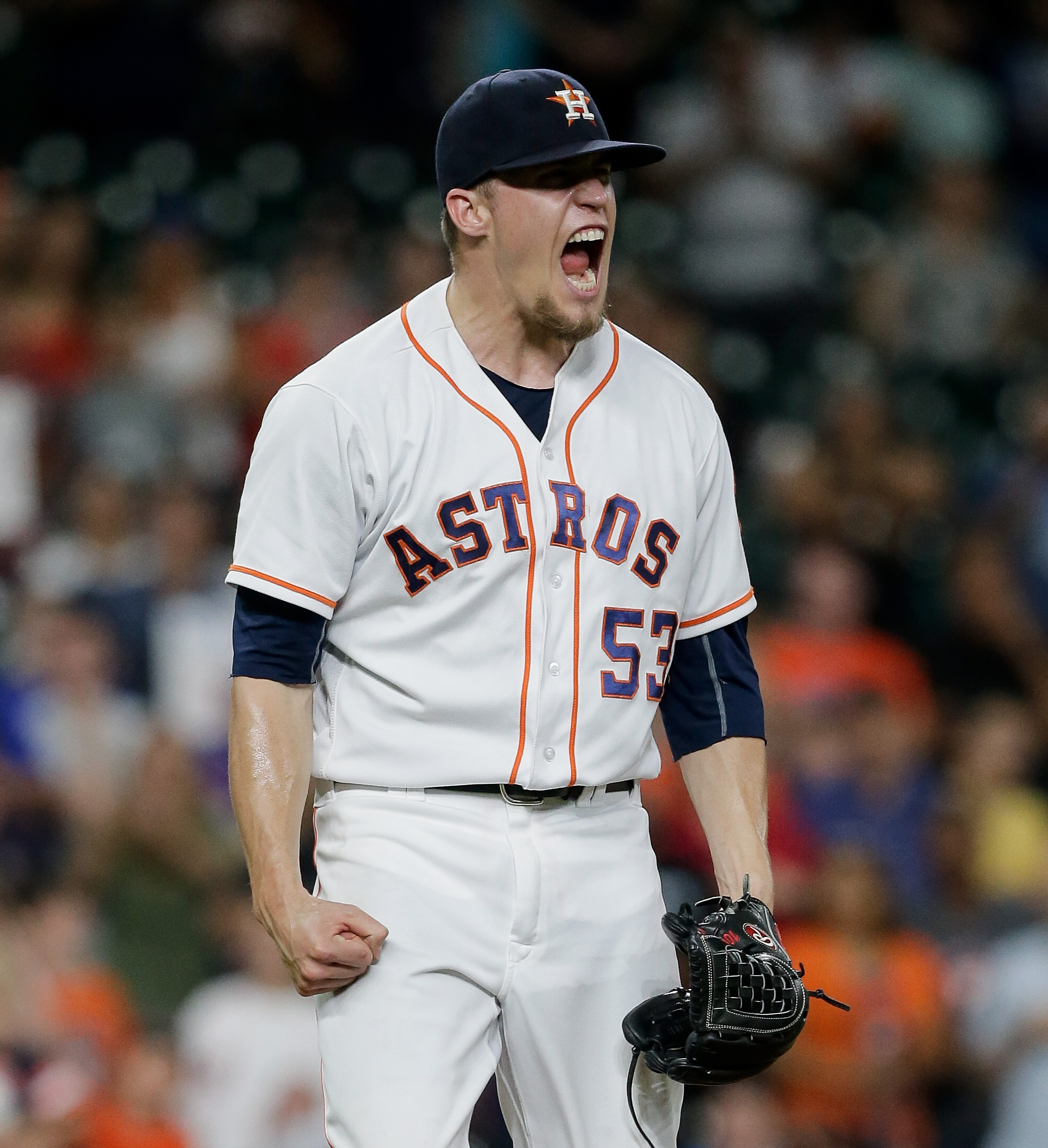 HOUSTON, TX - AUGUST 01: Ken Giles #53 of the Houston Astros reacts after striking out Michael Saunders #21 of the Toronto Blue Jays in the eighth inning at Minute Maid Park on August 1, 2016 in Houston, Texas. (Photo by Bob Levey/Getty Images)