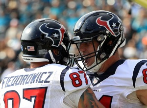 JACKSONVILLE, FL - NOVEMBER 13: Houston Texans Ryan Griffin #84 and C.J. Fiedorowicz celebrate Griffin's touchdown against the Jacksonville Jaguars during the game at EverBank Field on November 13, 2016 in Jacksonville, Florida. (Photo by Mike Ehrmann/Getty Images)