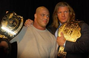 NEW YORK - MARCH 18: World Wrestling Entertainment Wrestlers Kurt Angle (L) and Triple H attend a media conference announcing the all-star lineup of WWE WrestleMania XIX at ESPN Zone in Times Square March 18, 2003 in New York City. (Photo by Mark Mainz/Getty Images)