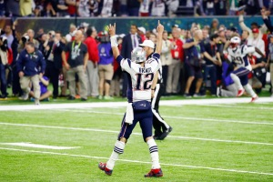 HOUSTON, TX - FEBRUARY 05: Tom Brady #12 of the New England Patriots reacts after defeating the Atlanta Falcons 34-28 in overtime to win Super Bowl 51 at NRG Stadium on February 5, 2017 in Houston, Texas. (Photo by Gregory Shamus/Getty Images)