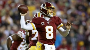 Quarterback Kirk Cousins #8 of the Washington Redskins passes the ball against the New York Giants in the second quarter at FedExField on January 1, 2017 in Landover, Maryland.